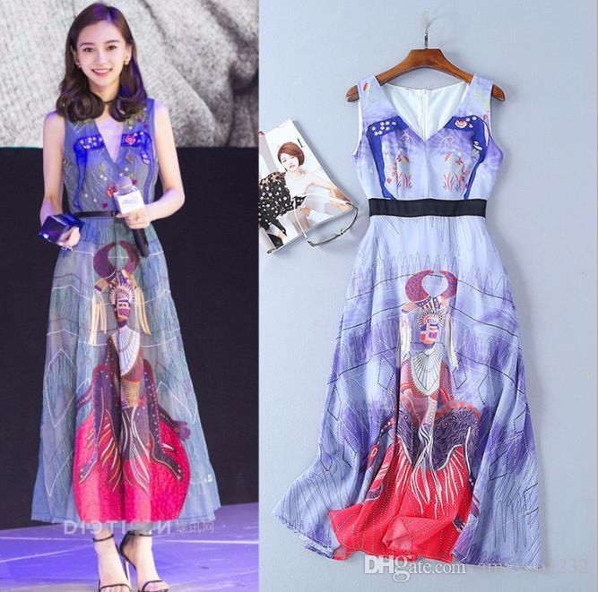 2018 Spring Summer Flora Print V Neck Empire Polyester Cotton Ankle Length Sleeveless A Line Prom Dresses Celebrity Style Dresses AS