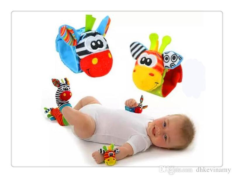 Calzini da bambino all'ingrosso BestSeller Calzini da bambino Animal Baby Rattle da polso asino Zebra da polso, giocattoli a sonaglio e calzini (1 set = 2 pezzi da polso + 2 pezzi calzini)