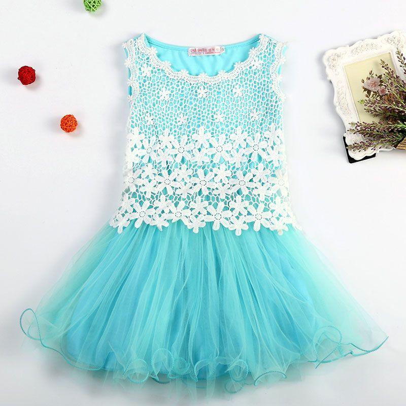 Nuovo 2017 ragazze di stile di estate si veste il vestito dal fiore del merletto per l'usura di compleanno del partito Principessa Costume bambini Abbigliamento per bambini per le ragazze