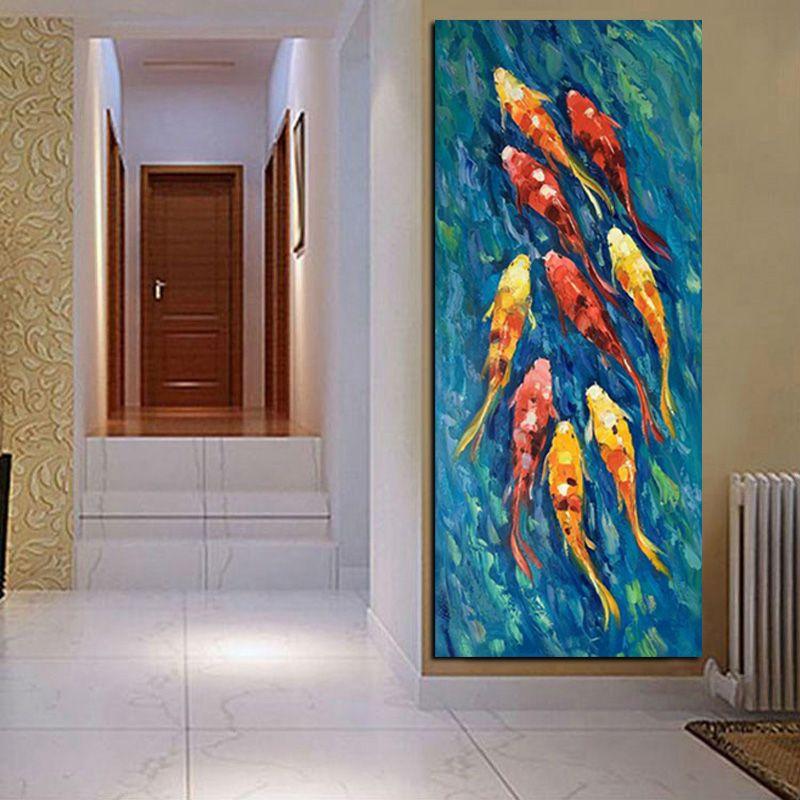 Compre 1 Peça Chinês Abstrato Nove Koi Peixe Lótus Pintura A Óleo ...