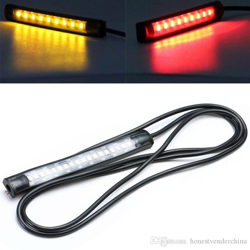 2pc Universal Flexible 18 SMD LED Motorcycle Tail Brake Stop Turn Signal Strip Light License Plate Lamp Red/Amber Light DC 12V