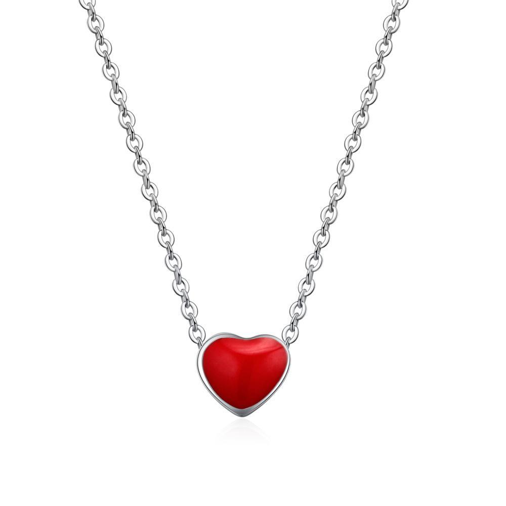 Piękny słodki mały czerwony serce S925 srebrny klamra naszyjnik sieć gorący wisiorek niezbędna biżuteria dla kobiet i dziewcząt