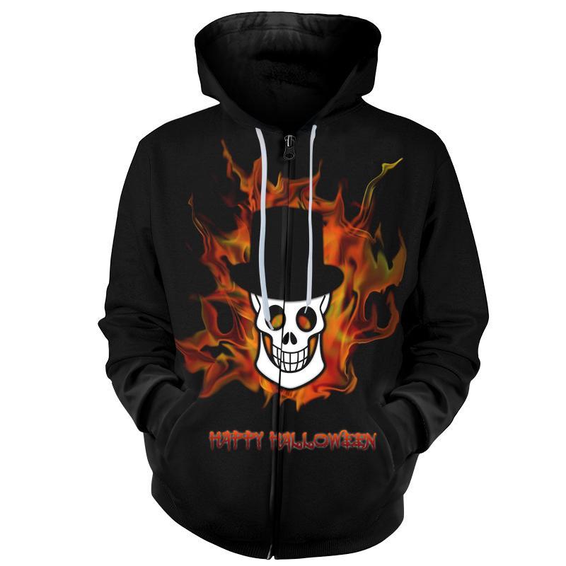 Cloudstyle 3D Zipper Hoodies Men Women Fire Skull Print Sweatshirts Magician Cool Tracksuit 3D Skull Hooded Oversized Streetwear