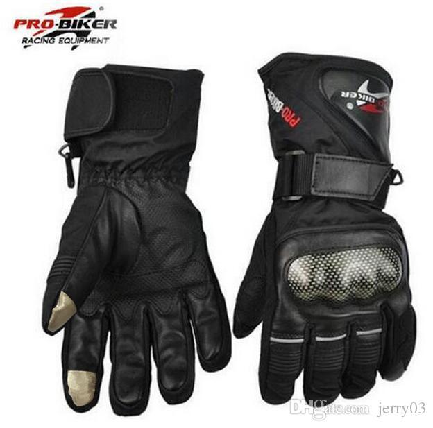 Guantes Luvas Da Motocicleta Luvas De Couro À Prova D 'Água Da Motocicleta Inverno Quente Dedo Completo Motocross Moto Moto Luva