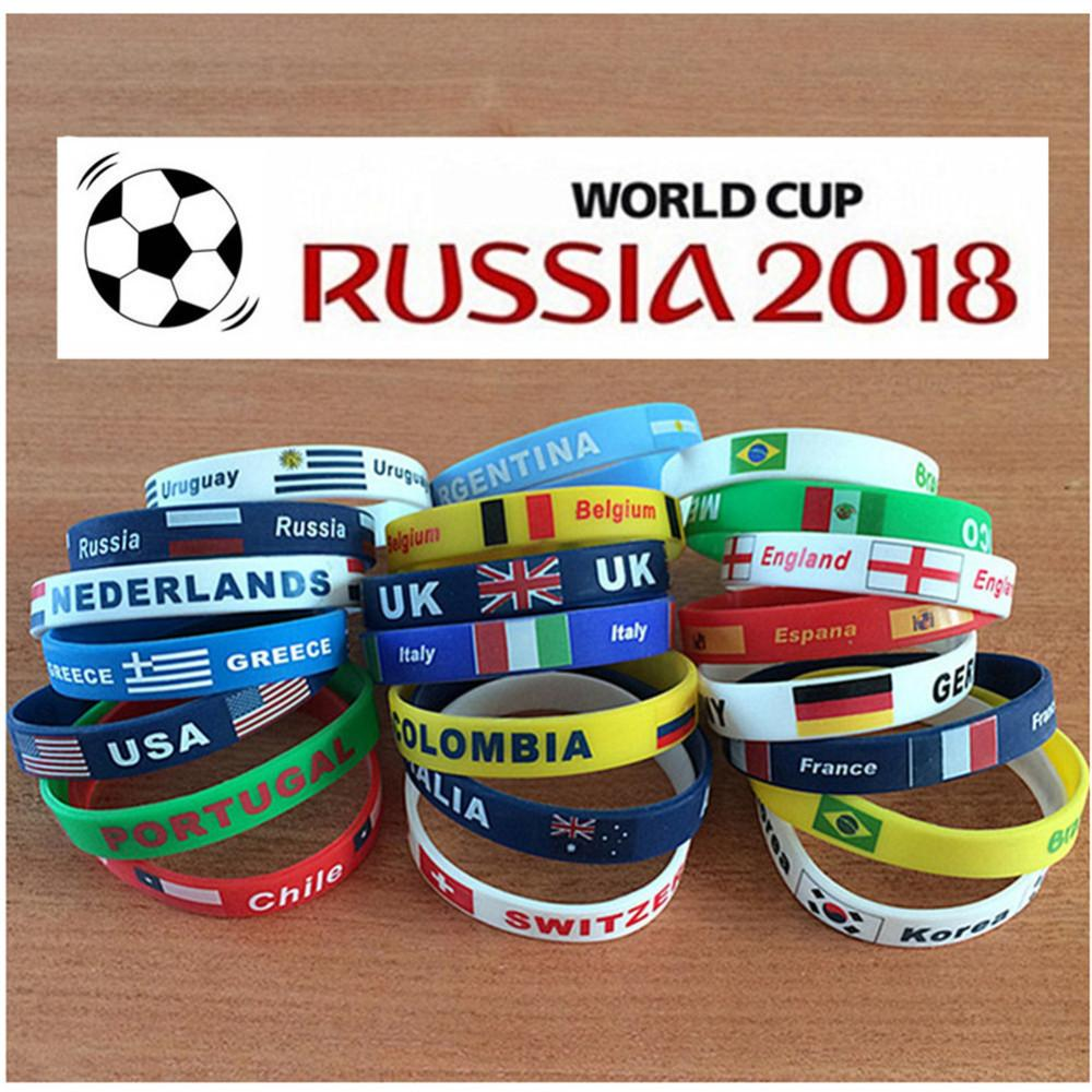 2018 World Cup jewelry Silicone Wristband Flag Logo Sports Accessories Football Fans Silicone Elastic Bands ID Bracelet Souvenir Gift
