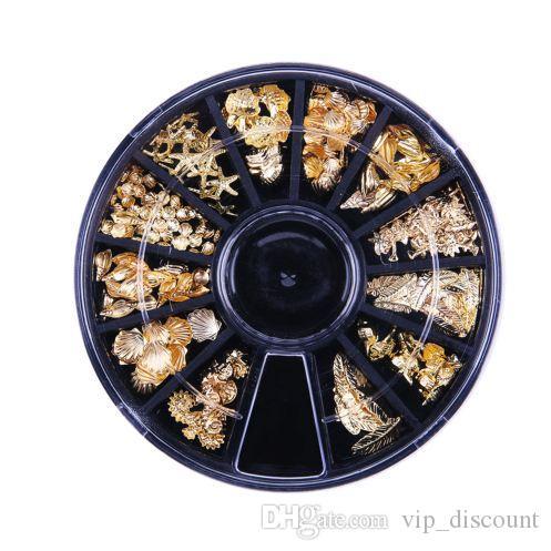 Nail 1Box oro 3D de plata diamantes de imitación de Shell del clavo del patrón del remache de los pernos prisioneros de mar Shell ancla de uñas de arte de la rueda de manicura Decoración