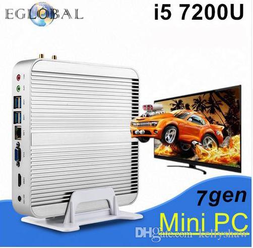 Eglobal 4USB3.0 1LAN 1HDMI+1VGA SIM Fanless Mini PC V2-7200U Windows 10 Intel Skylake Core i5 7200U HTPC