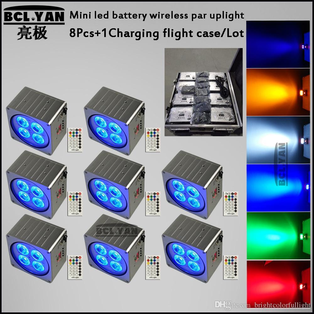 Wash 4x18W RGBWA UV led par Lighting 6in1 For Disco KTV Wireless DMX battery DJ lighting 8pcs with road case