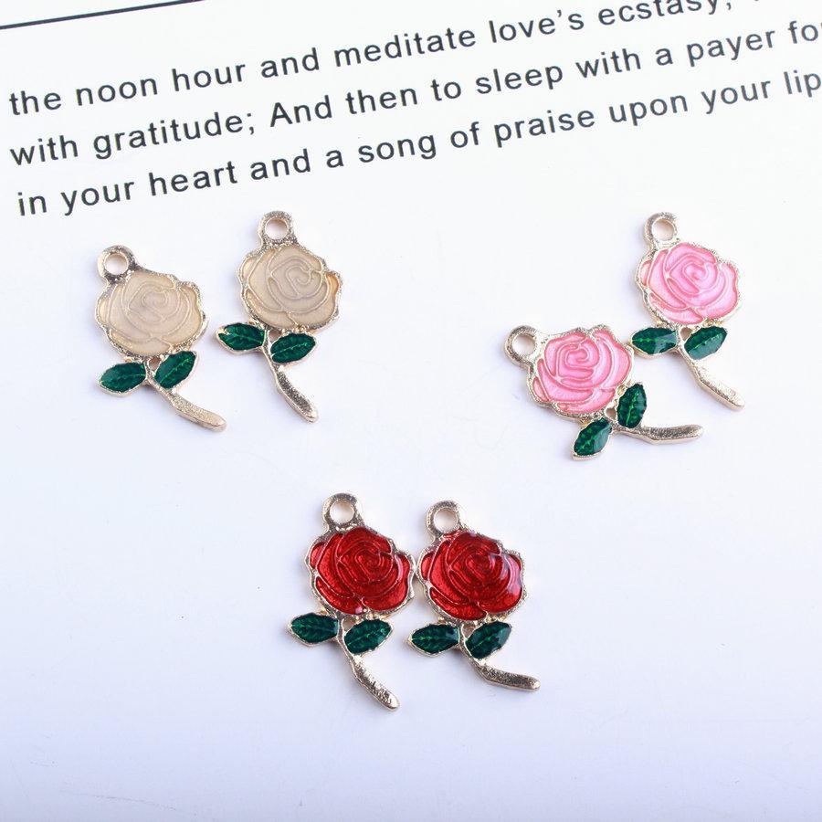Enamel Rose Flower Rope Charm Bead