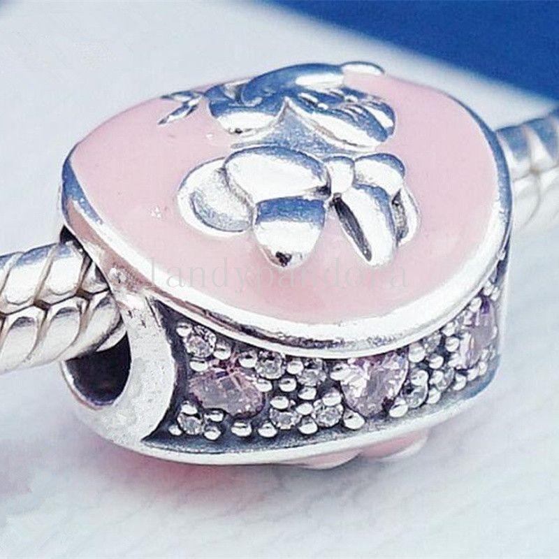 2018 New Mother's Day 925 en argent Sterling classique Vintage perle de charme avec émail rose s'adapte aux bijoux européens Bracelets Colliers Pendentif