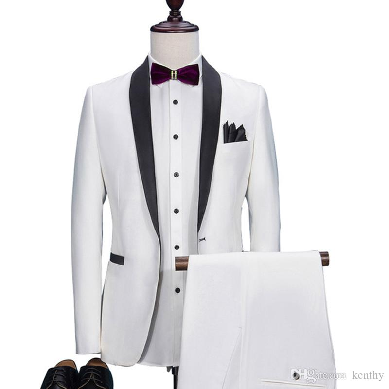 Custom Made 2018 High Quality White Men Suits For Wedding Suits For Men Bridegroom Party Groom Tuxedos Best Men Blazer Formal (Jacket+Pant)