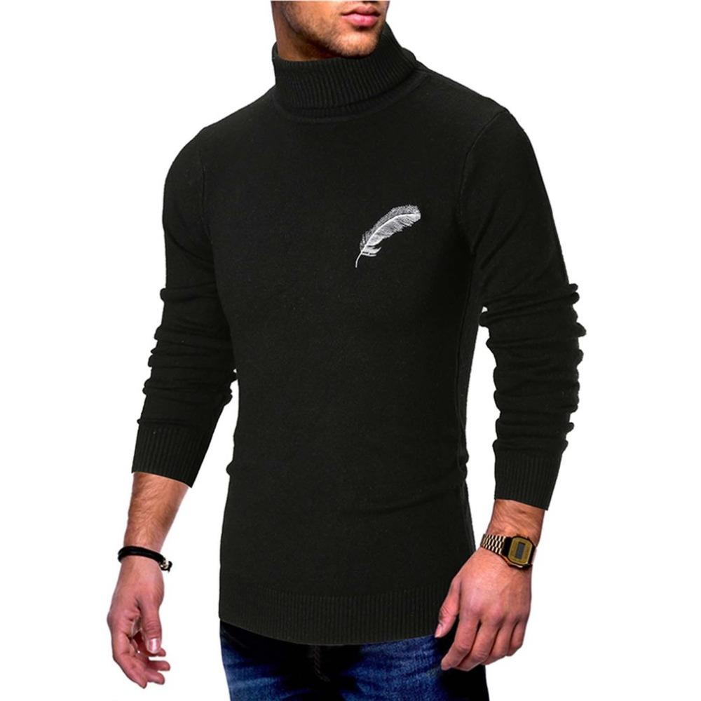 Turtleneck Cotton Knitted Sweater Pullover Men Stripe Wool Tights Sweaters Pullover Round Neck Pulls Winter Clothes Men