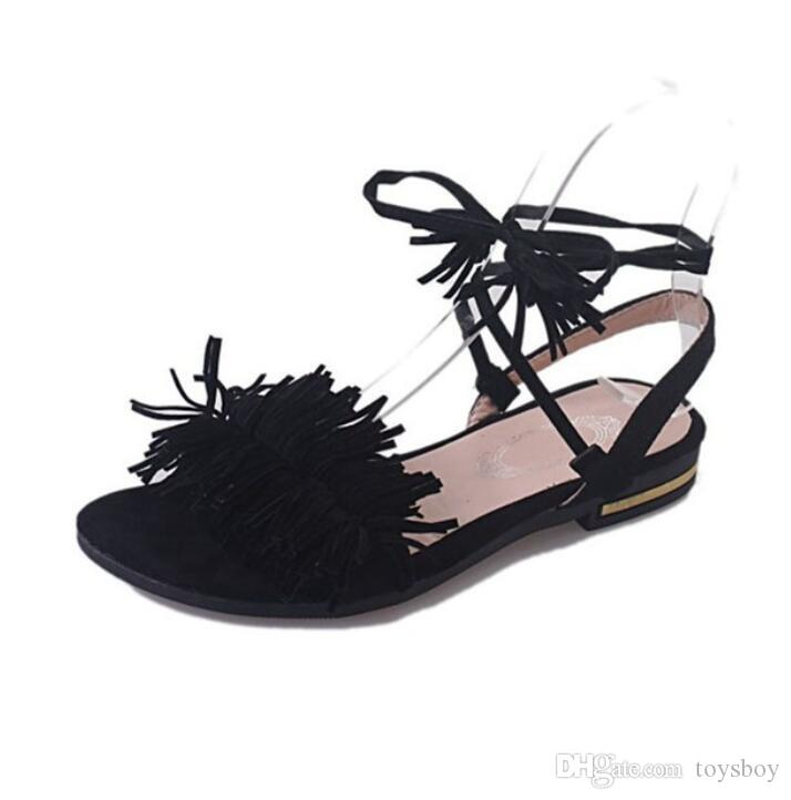 Fur Ankle Strap Gladiator Sandals Women Flats Summer Tassel Shoes Ladies Wedding Beach Sandals Free Shipping