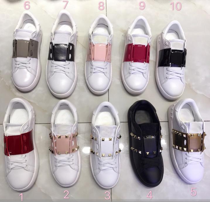 Nuevo estilo par de zapatos de cuero genuino remache del metal de la placa zapatos Bajo-top con cordones de los zapatos planos ocasionales personalizada de alta calidad libre de SHippi I12