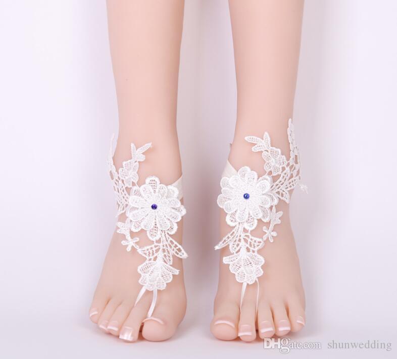Sexy Wedding Foot Chain Lace Descalzo Sandalias Playa Tobillera Joyería Boda Cordón 1pair / set Blanco