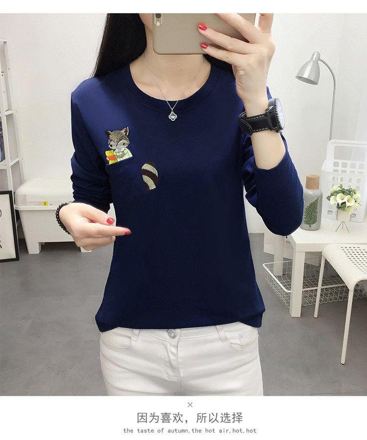 Embroidery T-shirts Women Tshirt O-neck Long Sleeve T-shirts Women Autumn Tops Tee Shirt Femme 2019 Cotton Camisetas Large Size (8)