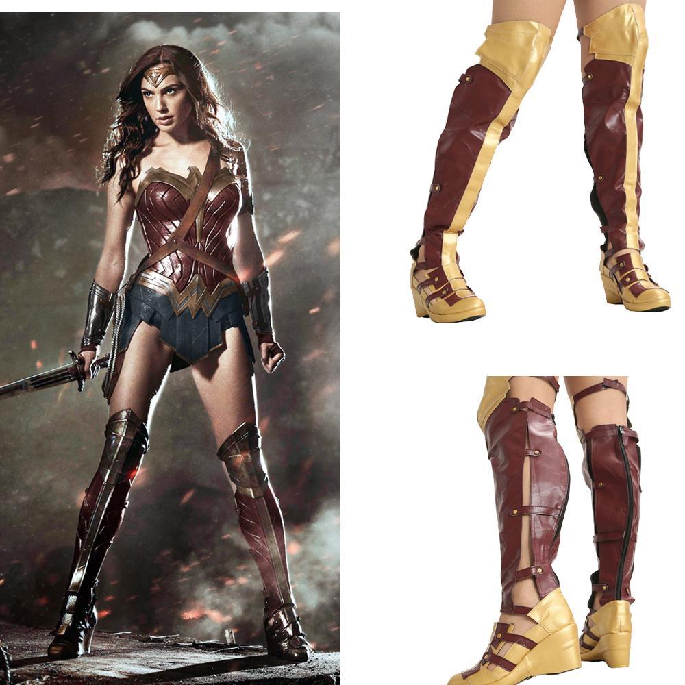 super popolare vendite calde aliexpress Acquista Wonder Woman Fashion Long Boots Movie Cosplay Puntelli ...