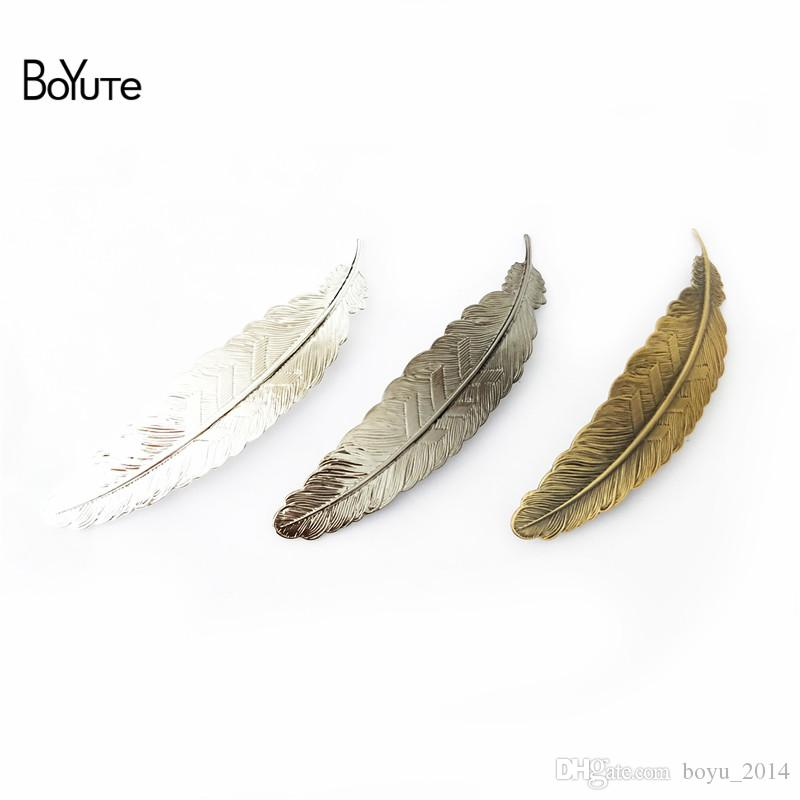 BoYuTe 5 Pieces 110* 23 MM Big Feather Hair Clip Wholesale 6 Colors Plated Women Hairpin