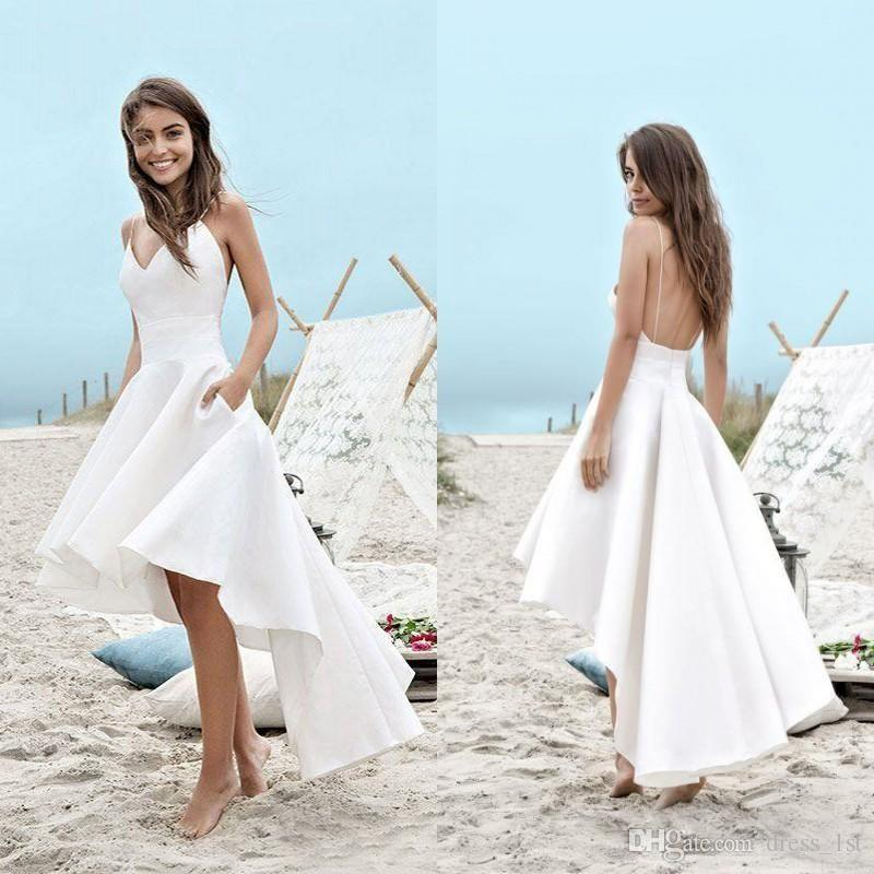Simple Summer Beach Wedding Dresses Spaghetti Straps A Line White High Low Bridal Gowns with Pockets