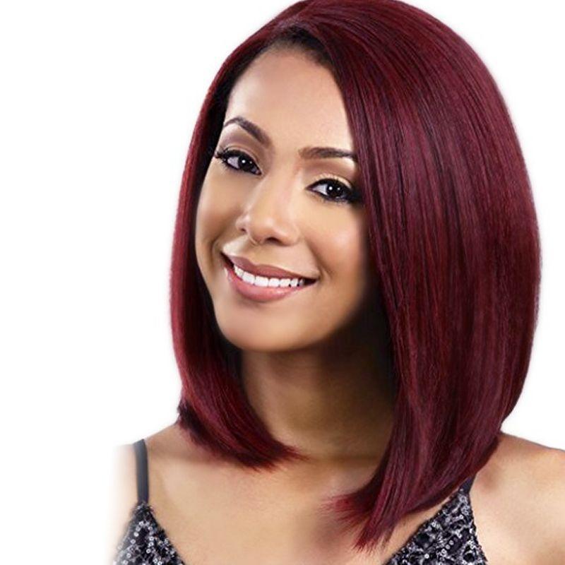 Фантастический хороший бордовый короткие прямые Боб синтетические наклонные челка парики волос для черных женщин прямые волосы парик