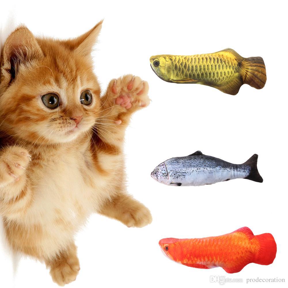 Artificial Fish Plush Pet Cat Puppy Dog Toys Sleeping Cushion Fun Toy Cat  Mint Catnip Toys Gadget Mechanical Cat Toys Mice Cat Toys From