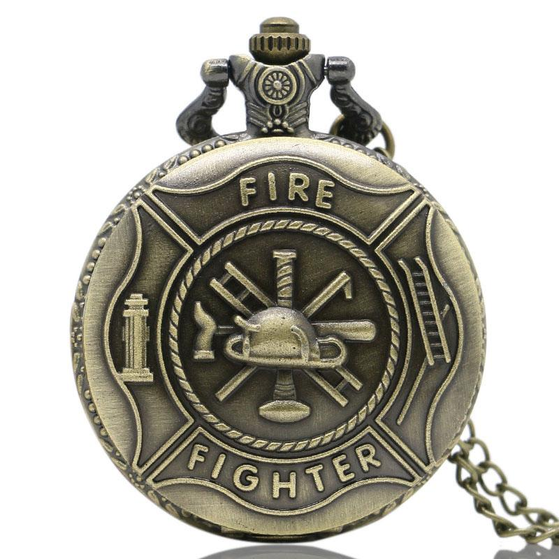 Bronze Vintage Cool Awesome Fire Fighter Control Quartz Pocket Watch Necklace Men Pendant Birthday Gift Reloj De Bolsillo