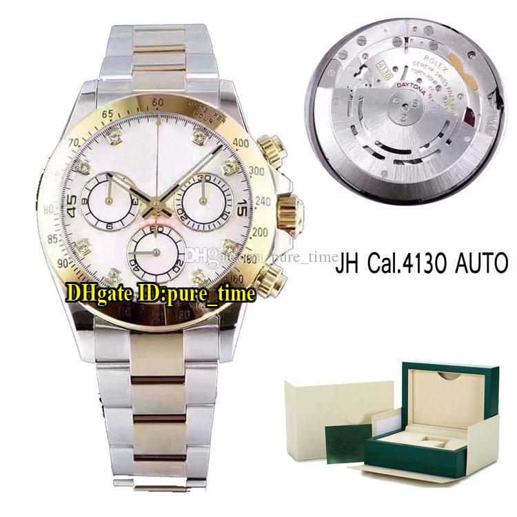 Best Quality V6S 116523 White Dial Cosmograph Cal.4130 Automatic Chronograph Mens Watch Stopwatch Two Tone Yellow Gold Watches