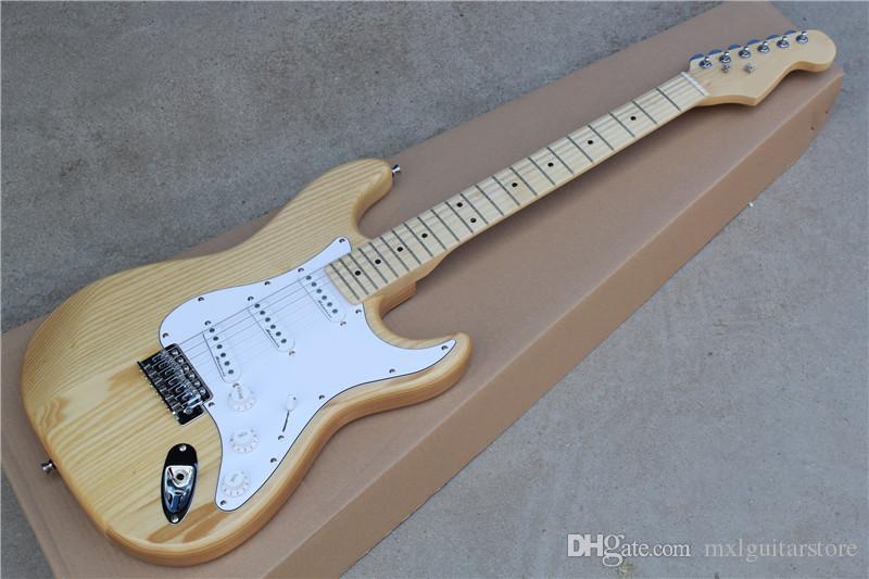Guitarra eléctrica de color natural de madera con Pickguard blanco, cuerpo ASH, pastillas 3S, Hardwares de cromo, que ofrece servicios personalizados