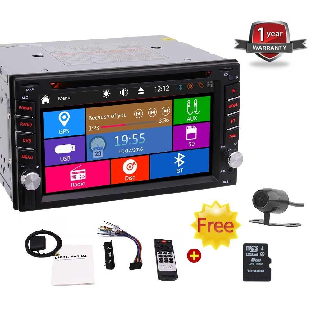 6.2'' Double DIN In Dash Car Dvd Player Stereo Headunit Touch Screen Bluetooth USB Sd Mp3 AM/FM Radio Receiver+Backup Camera&Remote Control