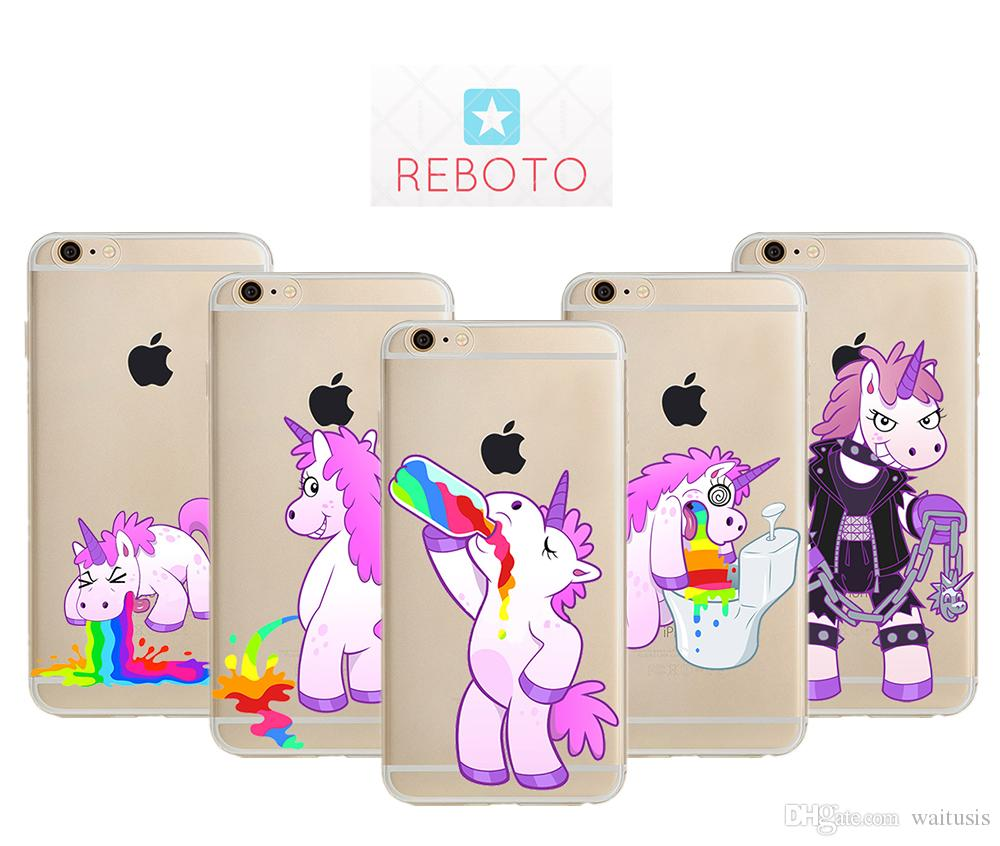 REBOTO Case For iPhone 7 7P Plus rainbow unicorn ultrathin Pattern Case Soft TPU phone cover For iPhone X 8 8 Plus 8p 6 6s 6p