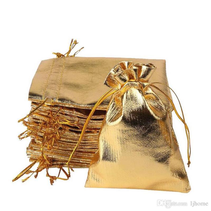 50 stücke 7 * 9 cm Gold Silber Weihnachtsgeschenk Tasche Metallfolie Organza Beutel Hochzeit Favor Geschenktüten
