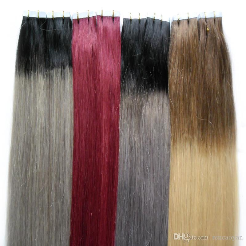 Cabelo Humano Extensões de Fita no Cabelo 100g Em Linha Reta cabelo virgem loiro 40 pcs cinza ombre Aplicar Fita Adesiva Trama Da Pele Atacado