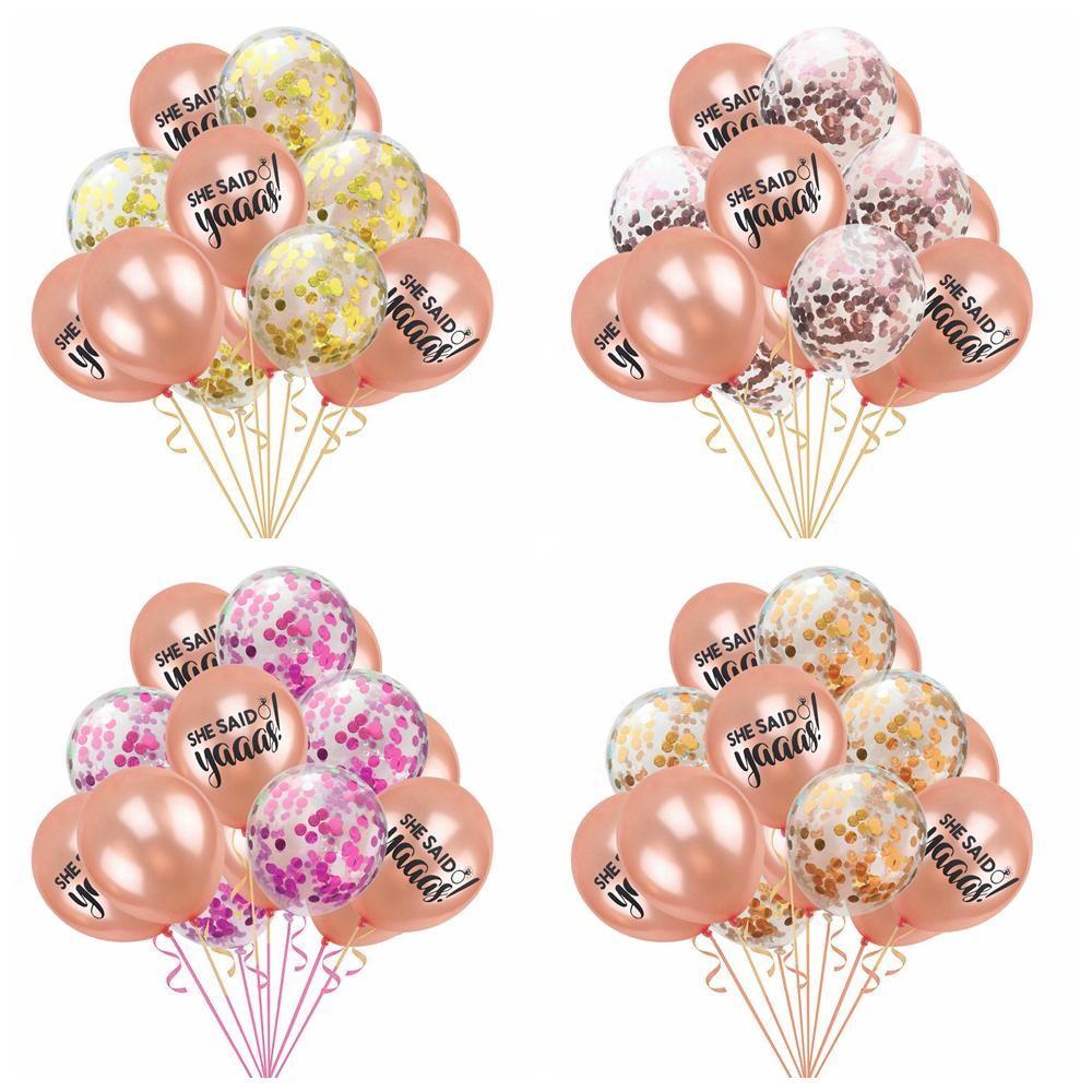 Chegam novas 15 pçs / lote 12 polegadas Ouro Confetti Balão Colorido Papel Flamingo Latex Balão Aniversário Decoração Do Partido Do Casamento Suprimentos