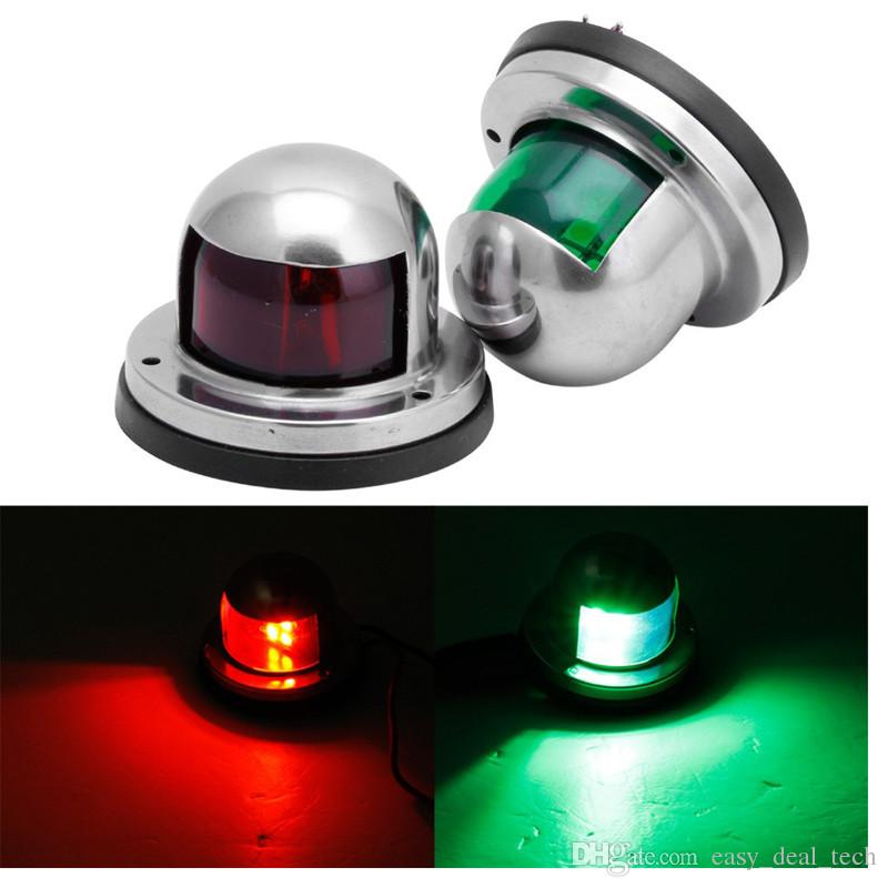 A Pair of Stainless Steel Green and Red Bow Navigation Lights Boat Lights Marine