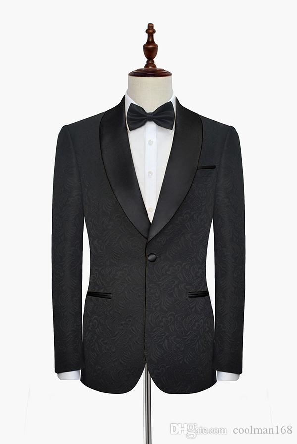 Groom Tuxedos Black Paisley Men Wedding Tuxedos Shawl Lapel Men Jacket Blazer Men Dinner/Darty Suit Customize Designe(Jacket+Pants+Tie) 1233