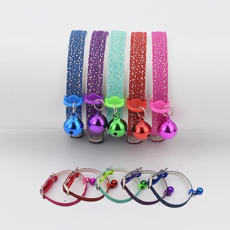 12pcs/lot Wholesale Blingbling Cute Star Collar for Cats Pets Puppy Dogs Cute Necklace 5 Colors with a Bell Coleira Para Gato