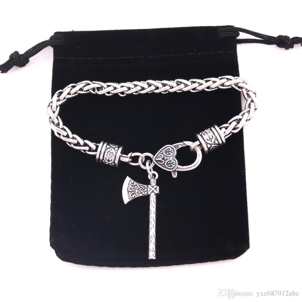 Moda Axe amuleto eslava Kolovrat Símbolo irlandesa del nudo de Viking ejes joyería del encanto pulseras talismán para el hombre