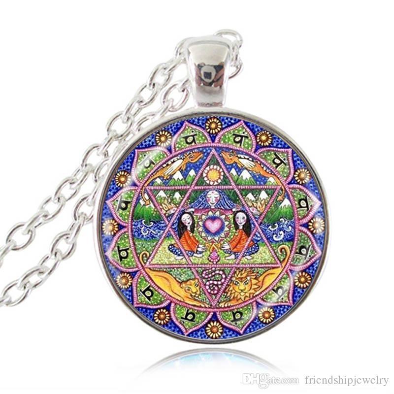 Cuarto Chakra Collar Colgante Mandala Flor Corazón Gargantilla Meditación Inspirada Joyería Espiritual Yoga Anahata Hexágono Joyería al por mayor