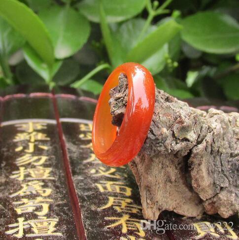 17.9mm Naturalne potrzeby Modelki męskie i żeńskie Czerwony Agate Jade Jade Pierścień Ring Finger Pierścień Autentyczne Promocyjne Cienkie paski