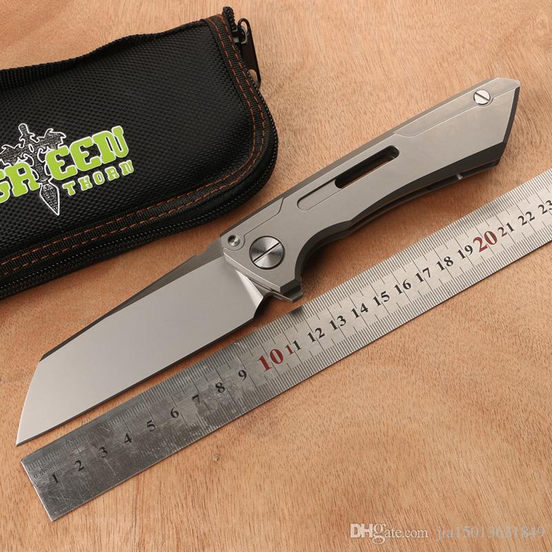 Green thorn, SNECX BUSTER, lapel folding knife M390 steel TC4 titanium handle outdoor camping utility fruit knife EDC tool