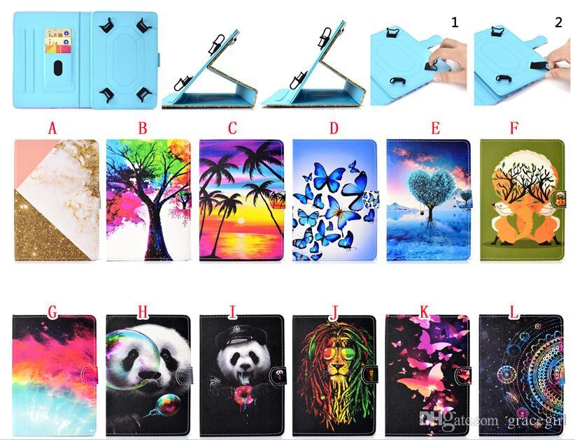 Universal Cartoon Leather Wallet Case For 7 8 10 inch Tablet Samsung Galaxy Tab iPad Tablet PC Bling Marble Butterfly Panda Tree Skin Cover