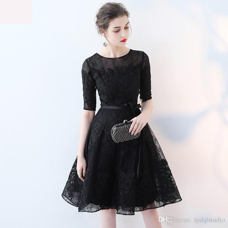 Elegant Lace Party Dresses Cocktail Dress Scoop Half Sleeves Knee Length Lace with Applique Sexy Black Cocktail Gowns Cheap