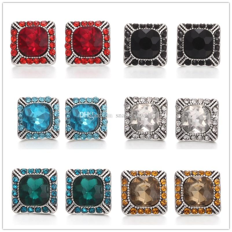 Noosa Chunks Square Rhinestone 12mm Snap Buttons For Snap Button Necklace earrings ring Jewelry Accessories