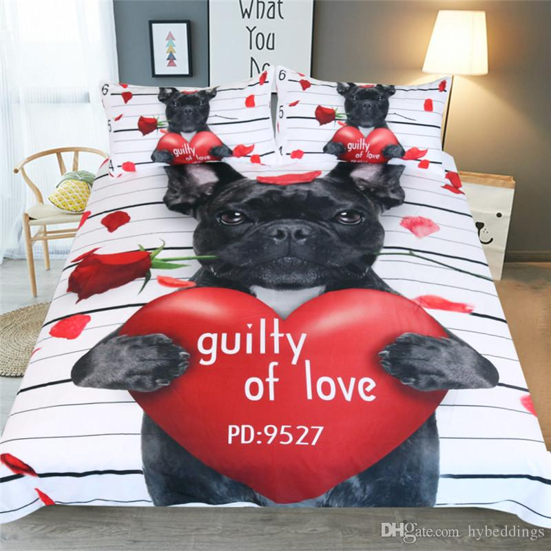3D Dog Rose Heart Duvet Cover With Pillowcase 3Pcs Guilty of Love Printed Bedding Set Twin Full Queen King Size Soft Animal Bedclothes