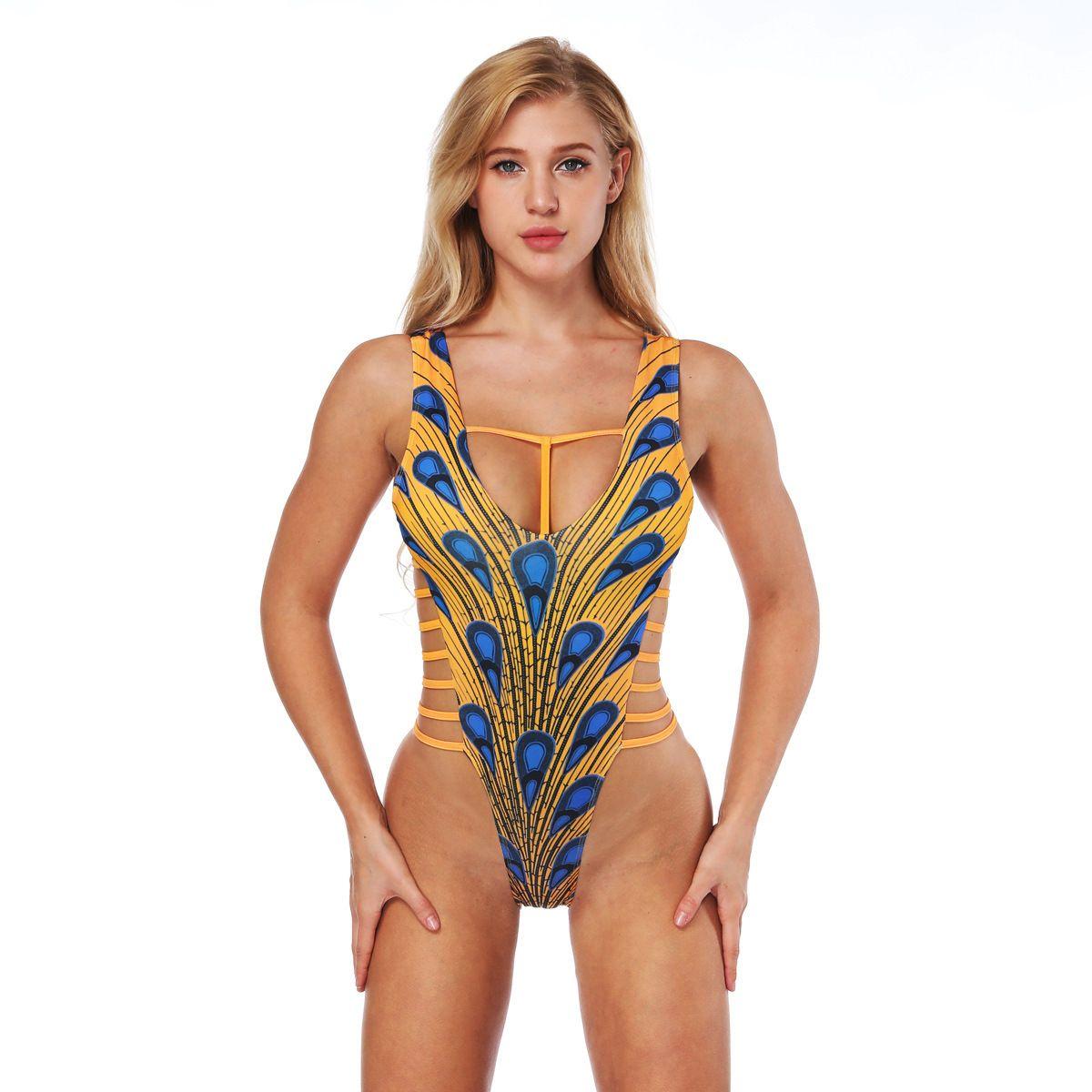 new style provide plenty of purchase newest 2019 Summer Digital Printing One Piece Swimsuit Tight Straps Strapless V  Neck Sling Bikini Set From Dlglobal, $19.1 | DHgate.Com