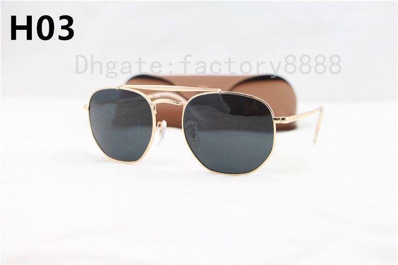 1 Pcs Top quality Men's Sunglasses Unisex Style Metal Hinges UV400 Flash Lens Vintage Square Oculos De Sol Masculino 3648 With Box Case