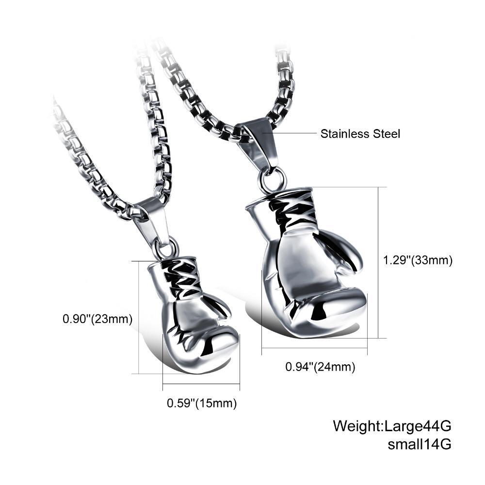 CIFBUY Noir / Acier / Or Couleur Mode Mini Gant de boxe Collier de boxe Pendentif bijoux cool en acier inoxydable pour les hommes garçons cadeau