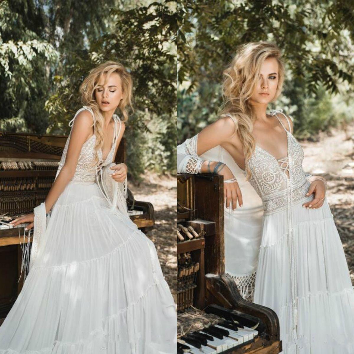 Inbal Raviv Bohemian Beach Wedding Dresses with Wrap Jacket Modest Spaghetti V Neck Vintage Lace Chiffon Holiday Bridal Gowns Cheap