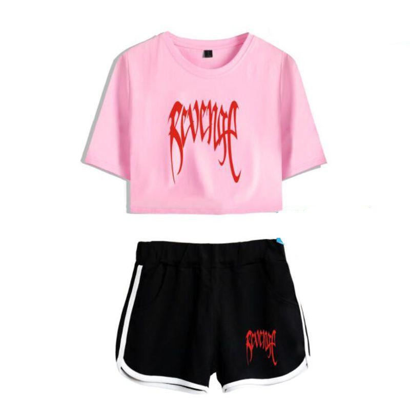 Women Two Piece Outfits Revenge Xxxtentacion 2 Piece Set Crop Top and Short Pants Tracksuit For Women Suits Sexy Matching Sets