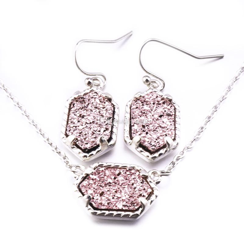 15Colors Drusy Druzy Dangle Earrings Necklace Jewelry Set Silver Gold Plated Geometry Stone Earrings Necklaces For women